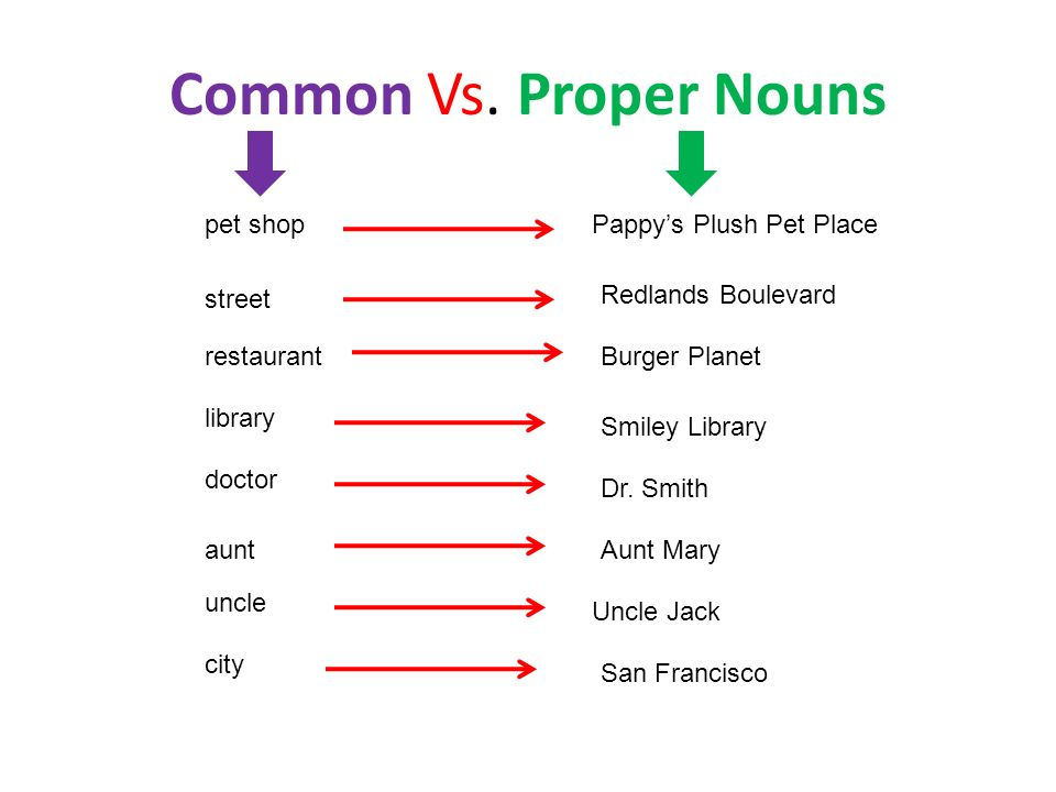 Common Vs. Proper Nouns pet shopPappys Plush Pet Place street Redlands Boulevard restaurantBurger Planet library Smiley Library doctor Dr. Smith auntA
