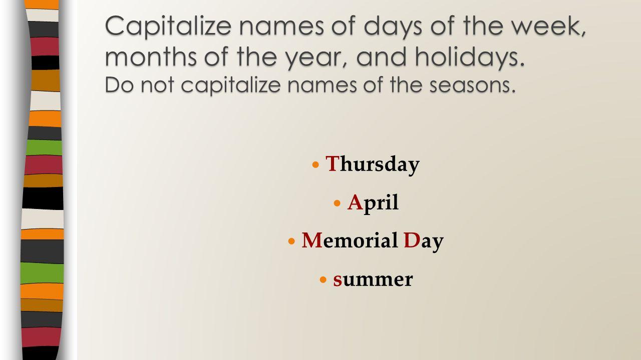 Do you capitalize summer?