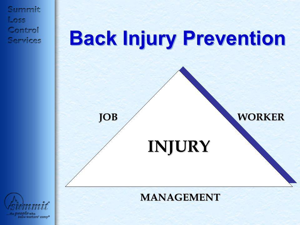 Back Injury Prevention JOBWORKER MANAGEMENT INJURY