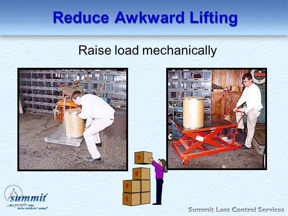 Reduce Awkward Lifting Raise load mechanically