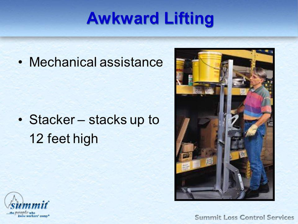 Awkward Lifting Mechanical assistance Stacker – stacks up to 12 feet high