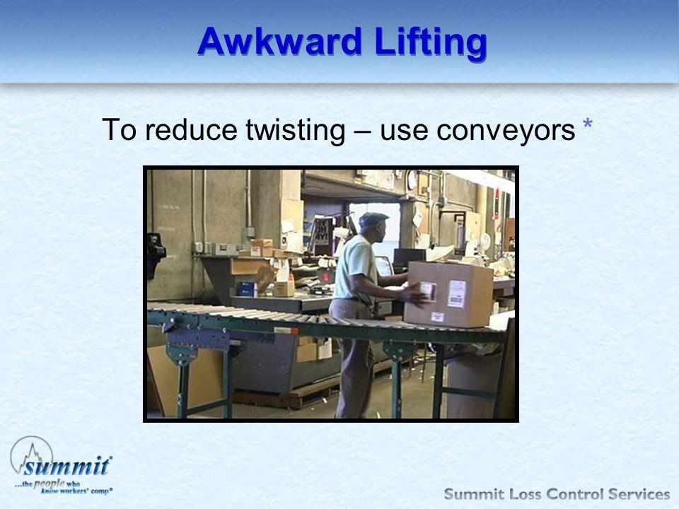 Awkward Lifting To reduce twisting – use conveyors *