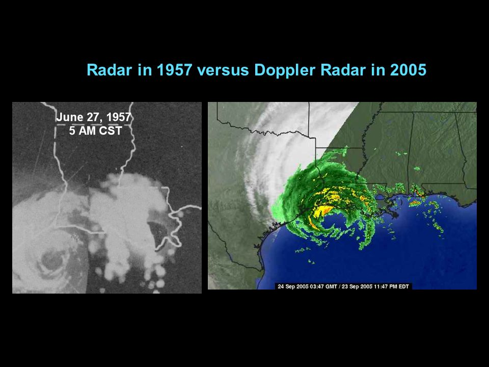 Radar in 1957 versus Doppler Radar in 2005