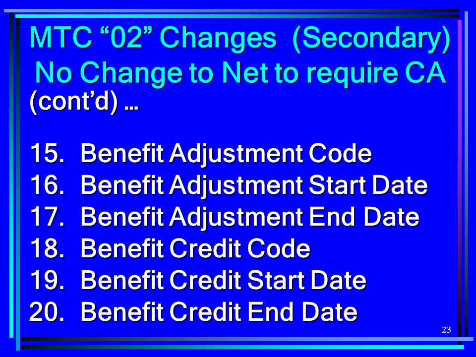 23 (contd) … 15.Benefit Adjustment Code 16. Benefit Adjustment Start Date 17.