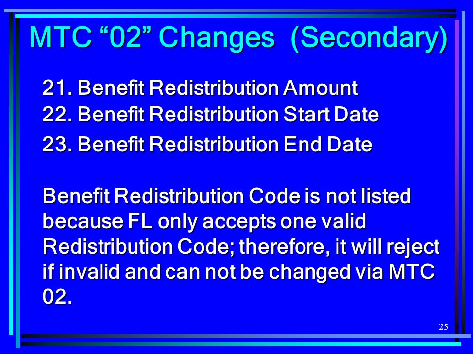 25 21.Benefit Redistribution Amount 22. Benefit Redistribution Start Date 23.