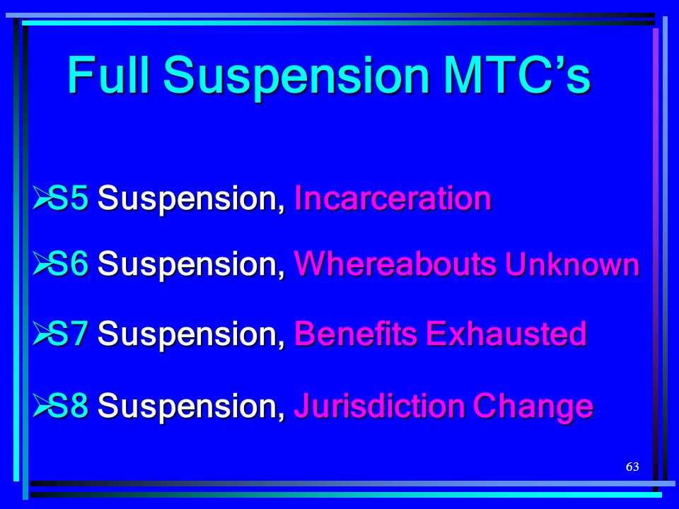 63 S5 Suspension, Incarceration S5 Suspension, Incarceration S6 Suspension, Whereabouts Unknown S6 Suspension, Whereabouts Unknown S7 Suspension, Benefits Exhausted S7 Suspension, Benefits Exhausted S8 Suspension, Jurisdiction Change S8 Suspension, Jurisdiction Change Full Suspension MTCs