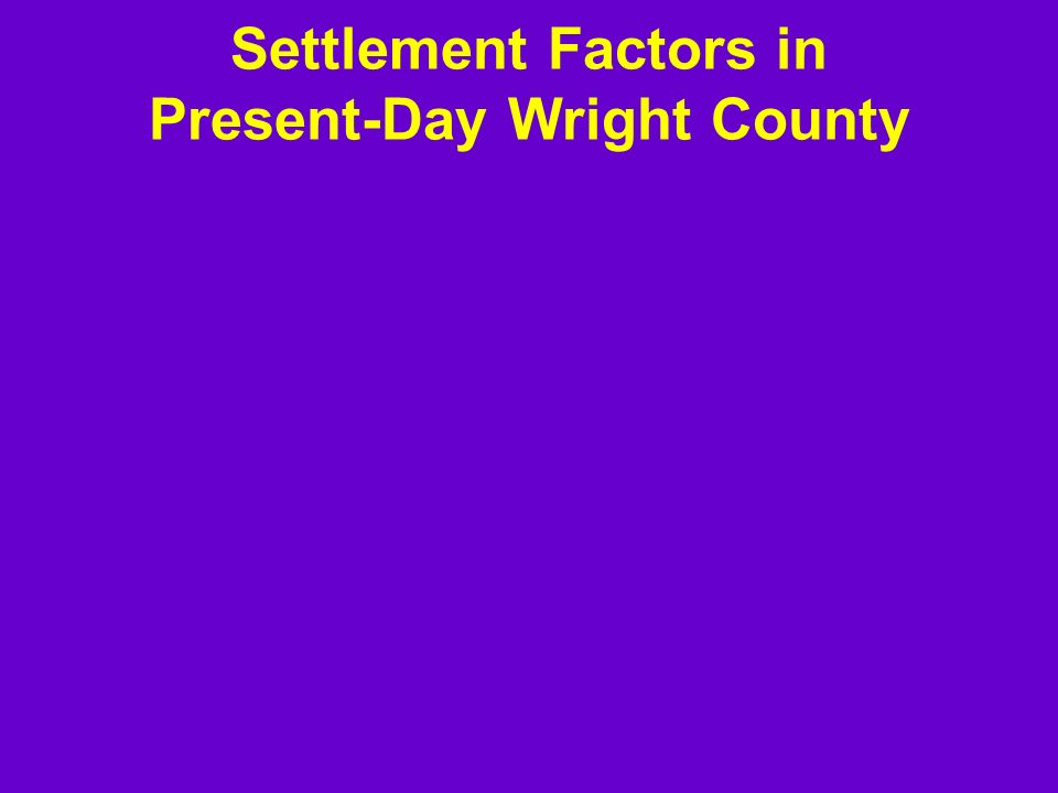 Settlement Factors in Present-Day Wright County
