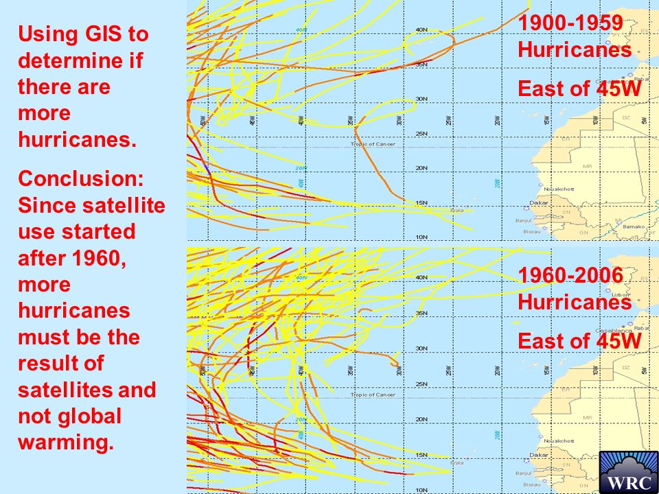 Using GIS to determine if there are more hurricanes. Conclusion: Since satellite use started after 1960, more hurricanes must be the result of satelli