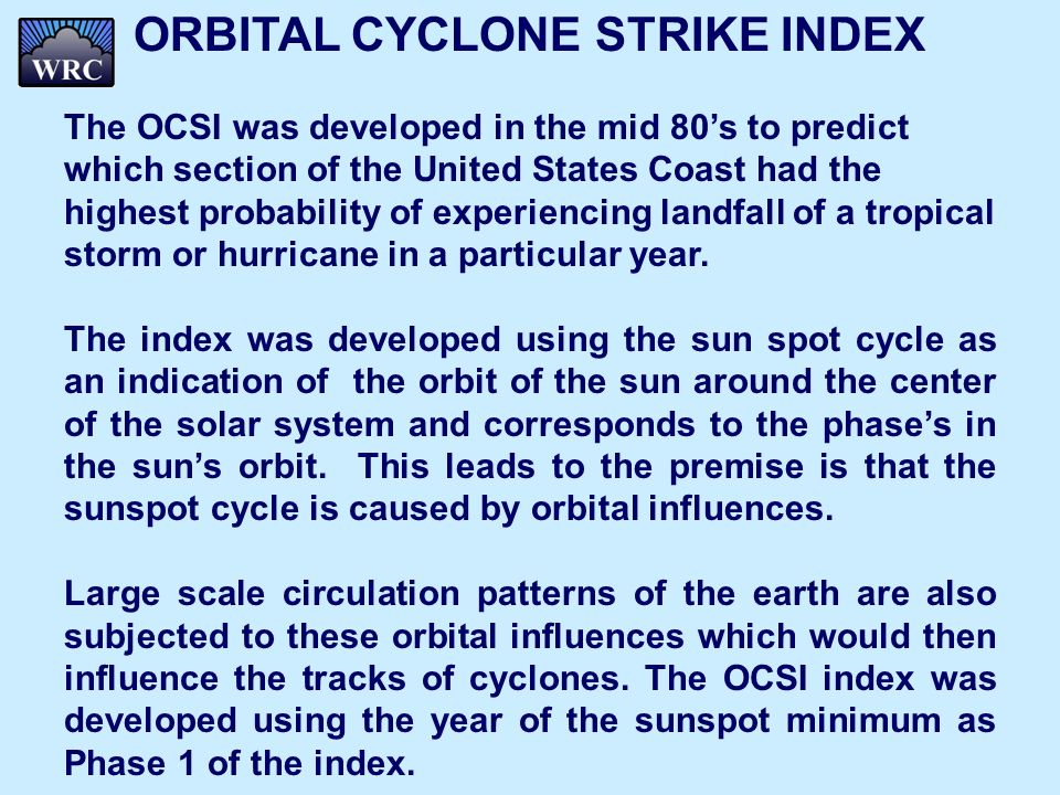 ORBITAL CYCLONE STRIKE INDEX The OCSI was developed in the mid 80s to predict which section of the United States Coast had the highest probability of experiencing landfall of a tropical storm or hurricane in a particular year.