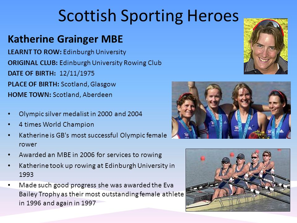 Scottish Sporting Heroes Katherine Grainger MBE LEARNT TO ROW: Edinburgh University ORIGINAL CLUB: Edinburgh University Rowing Club DATE OF BIRTH: 12/11/1975 PLACE OF BIRTH: Scotland, Glasgow HOME TOWN: Scotland, Aberdeen Olympic silver medalist in 2000 and times World Champion Katherine is GB s most successful Olympic female rower Awarded an MBE in 2006 for services to rowing Katherine took up rowing at Edinburgh University in 1993 Made such good progress she was awarded the Eva Bailey Trophy as their most outstanding female athlete in 1996 and again in 1997