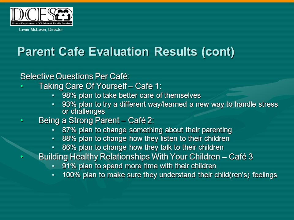 Erwin McEwen, Director Parent Cafe Evaluation Results (cont) Selective Questions Per Café: Taking Care Of Yourself – Cafe 1:Taking Care Of Yourself – Cafe 1: 98% plan to take better care of themselves98% plan to take better care of themselves 93% plan to try a different way/learned a new way to handle stress or challenges93% plan to try a different way/learned a new way to handle stress or challenges Being a Strong Parent – Café 2:Being a Strong Parent – Café 2: 87% plan to change something about their parenting87% plan to change something about their parenting 88% plan to change how they listen to their children88% plan to change how they listen to their children 86% plan to change how they talk to their children86% plan to change how they talk to their children Building Healthy Relationships With Your Children – Café 3Building Healthy Relationships With Your Children – Café 3 91% plan to spend more time with their children91% plan to spend more time with their children 100% plan to make sure they understand their child(rens) feelings100% plan to make sure they understand their child(rens) feelings