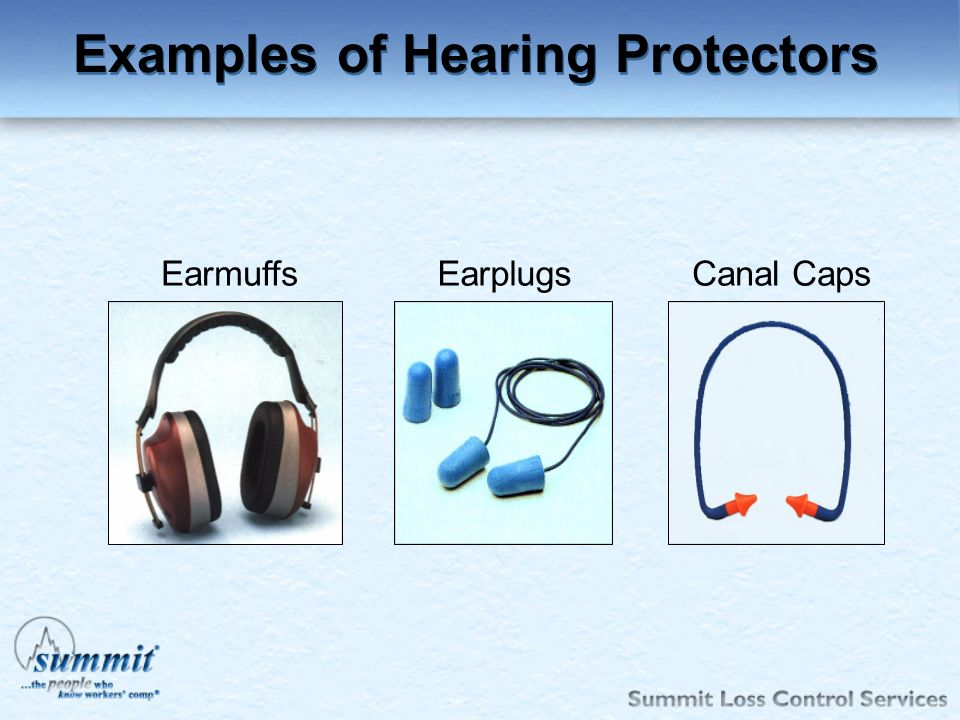 Click to edit Master text styles –Second level Third level –Fourth level »Fifth level EarmuffsEarplugsCanal Caps Examples of Hearing Protectors