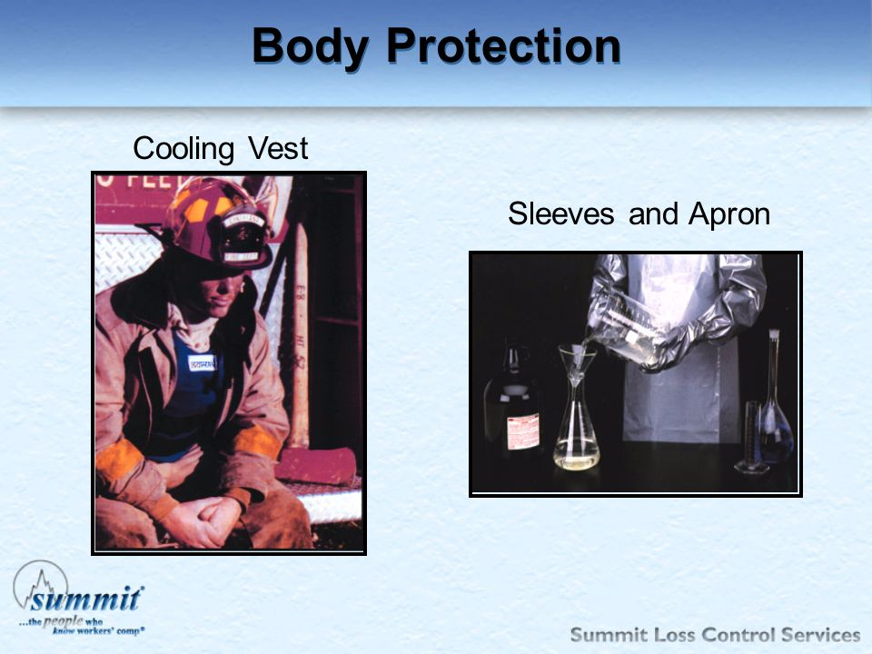 Click to edit Master text styles –Second level Third level –Fourth level »Fifth level Cooling Vest Sleeves and Apron Body Protection