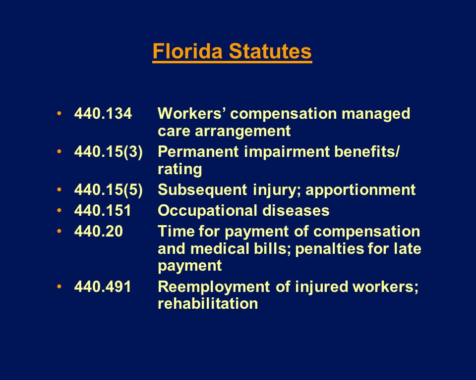 440.134Workers compensation managed care arrangement 440.15(3)Permanent impairment benefits/ rating 440.15(5)Subsequent injury; apportionment 440.151O