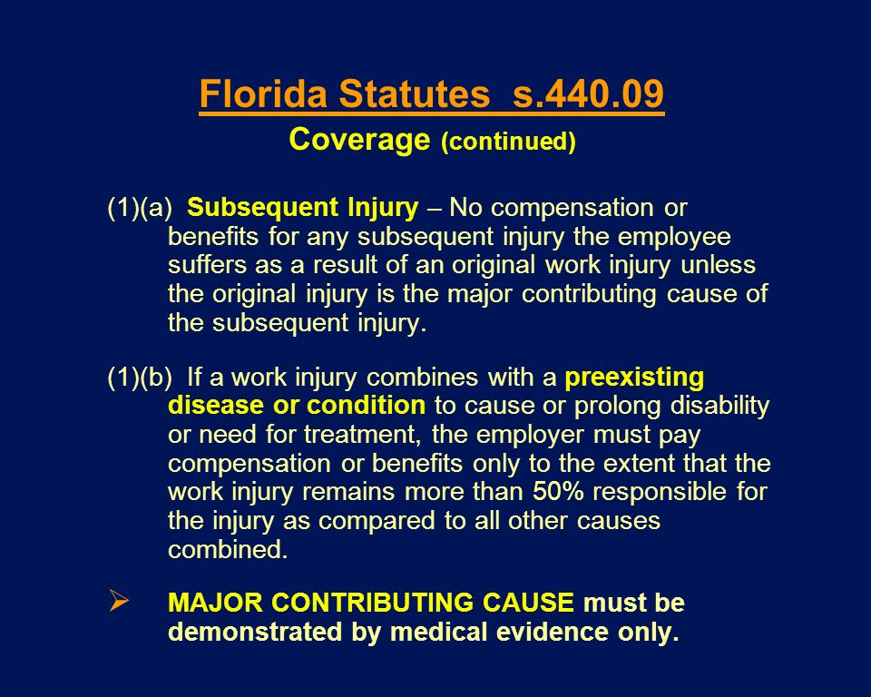 (1)(a) Subsequent Injury – No compensation or benefits for any subsequent injury the employee suffers as a result of an original work injury unless th