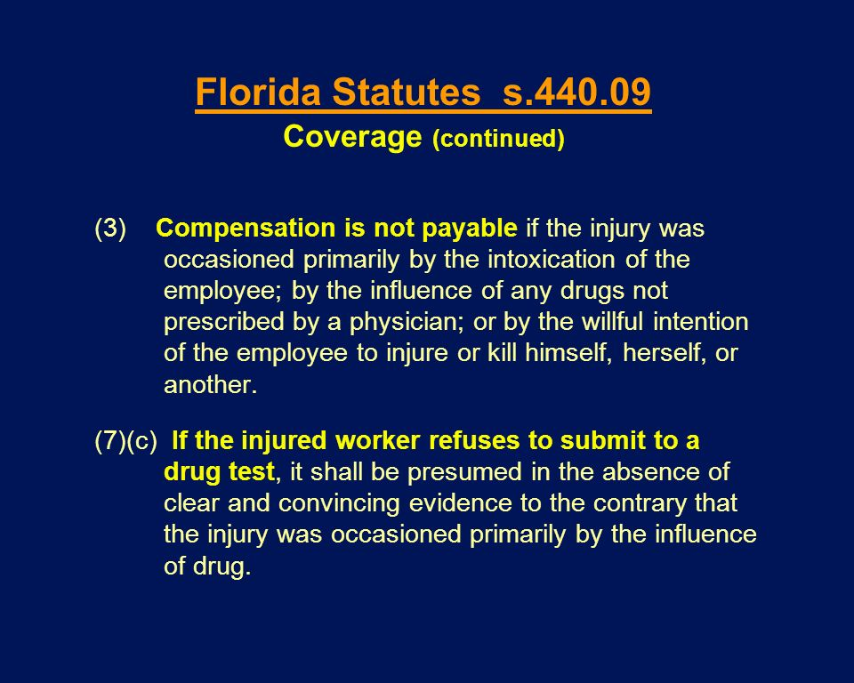 (3) Compensation is not payable if the injury was occasioned primarily by the intoxication of the employee; by the influence of any drugs not prescrib