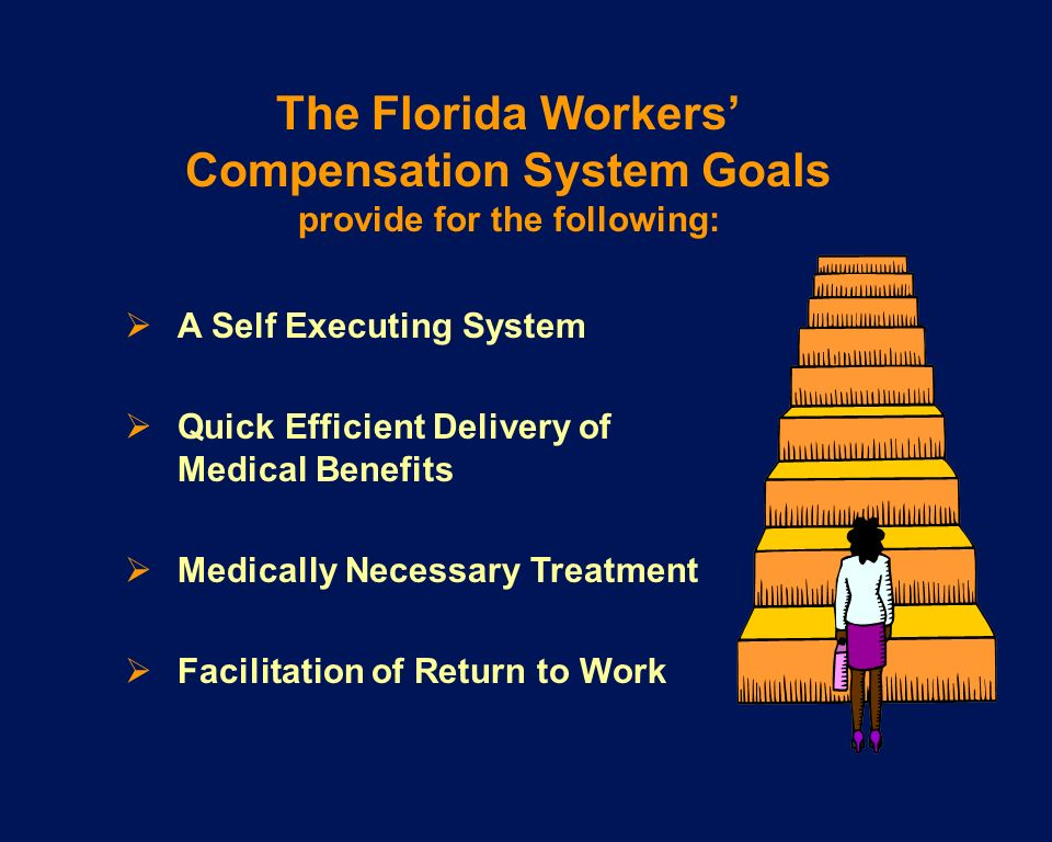 A Self Executing System Quick Efficient Delivery of Medical Benefits Medically Necessary Treatment Facilitation of Return to Work The Florida Workers