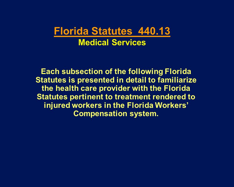 Each subsection of the following Florida Statutes is presented in detail to familiarize the health care provider with the Florida Statutes pertinent t