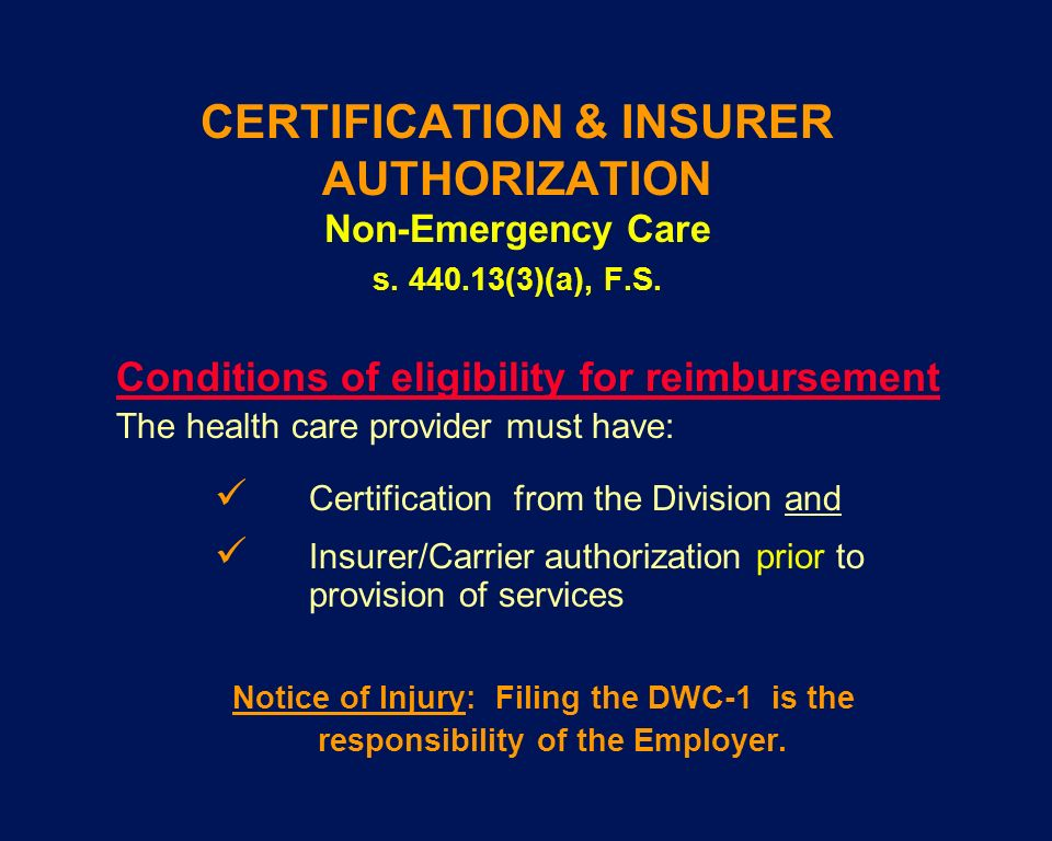 CERTIFICATION & INSURER AUTHORIZATION Non-Emergency Care s. 440.13(3)(a), F.S. Conditions of eligibility for reimbursement The health care provider mu