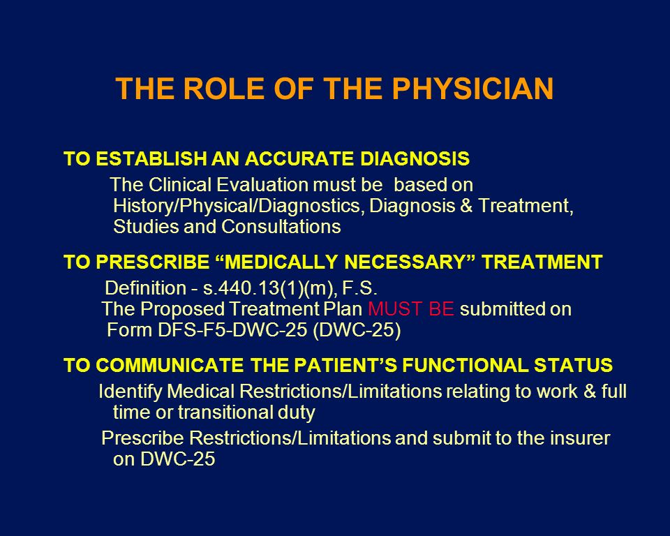 THE ROLE OF THE PHYSICIAN TO ESTABLISH AN ACCURATE DIAGNOSIS The Clinical Evaluation must be based on History/Physical/Diagnostics, Diagnosis & Treatm