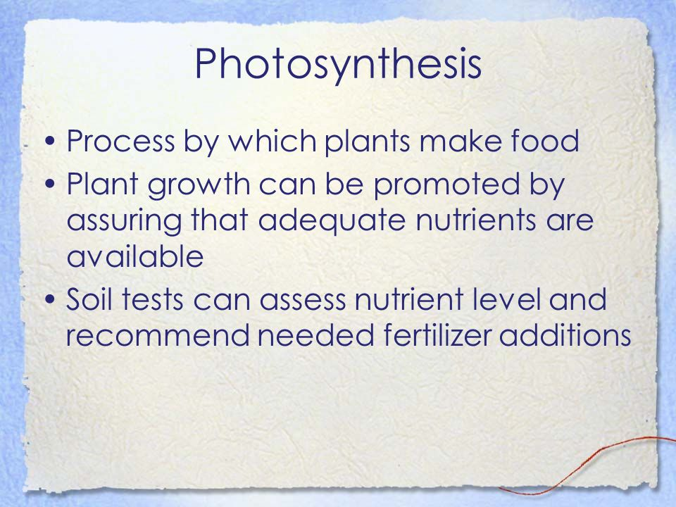 Photosynthesis Process by which plants make food Plant growth can be promoted by assuring that adequate nutrients are available Soil tests can assess nutrient level and recommend needed fertilizer additions