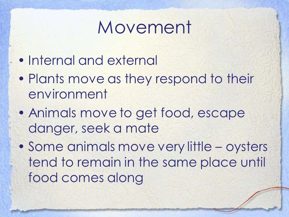 Movement Internal and external Plants move as they respond to their environment Animals move to get food, escape danger, seek a mate Some animals move