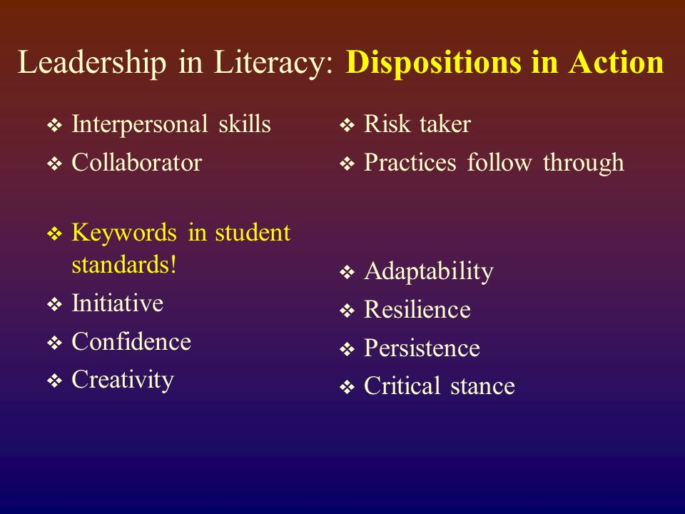 Leadership in Literacy: Dispositions in Action Interpersonal skills Collaborator Keywords in student standards.