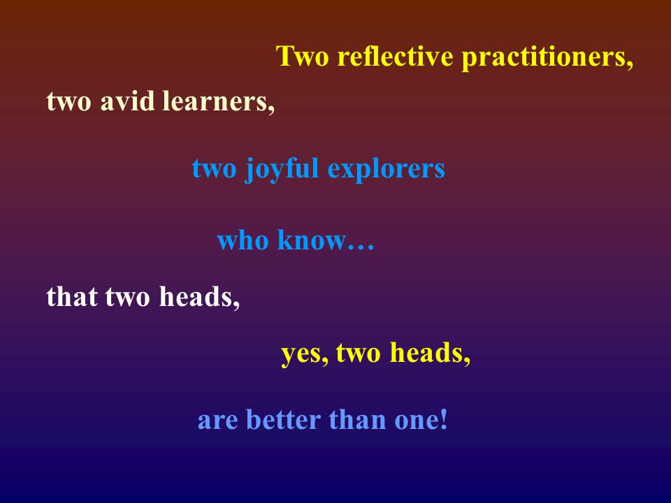 Two reflective practitioners, two avid learners, two joyful explorers who know… that two heads, yes, two heads, are better than one!