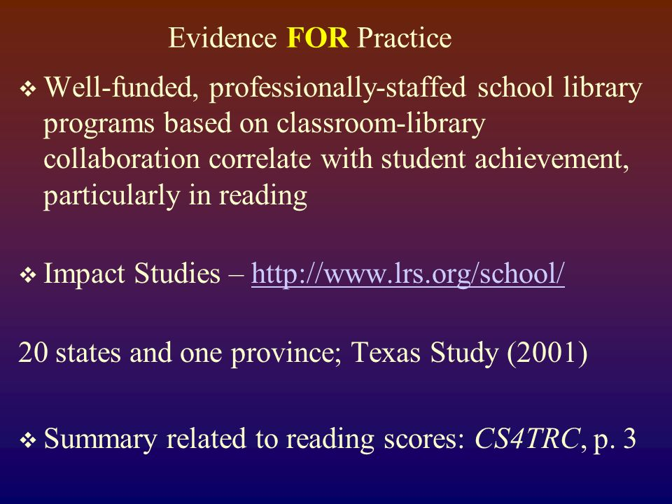Evidence FOR Practice Research-based Instructional Strategies Marzano, Pickering, and Pollock (2001) Summary in CS4TRC, page 13.