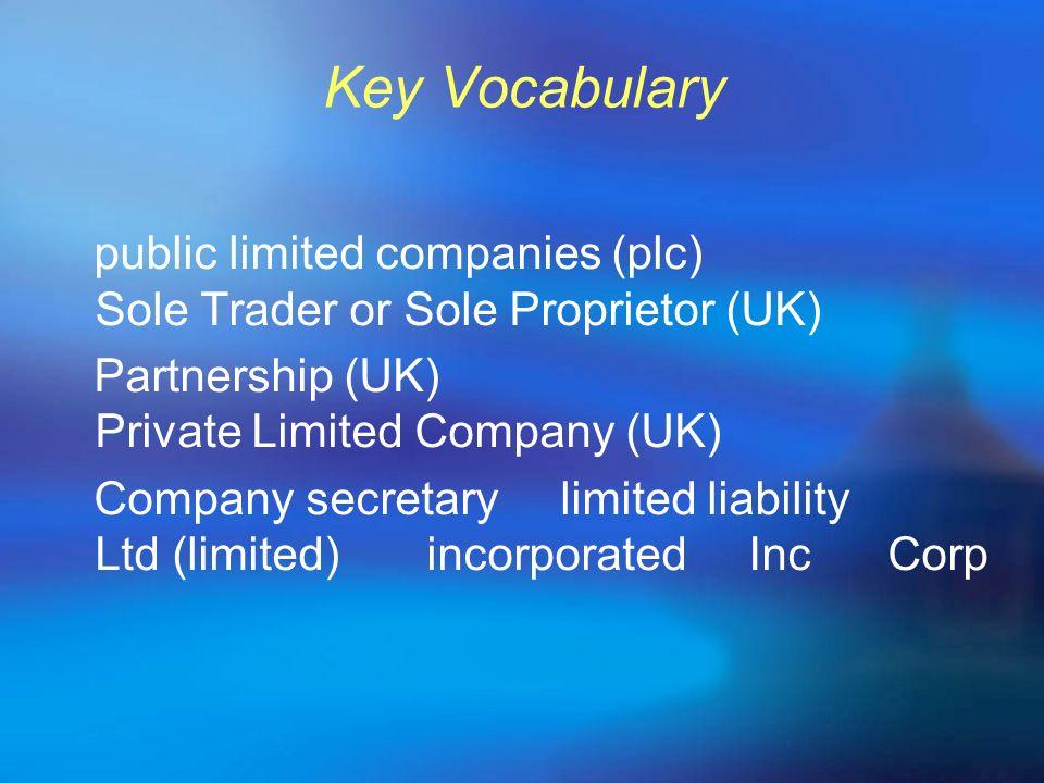 Key Vocabulary public limited companies (plc) Sole Trader or Sole Proprietor (UK) Partnership (UK) Private Limited Company (UK) Company secretary limi