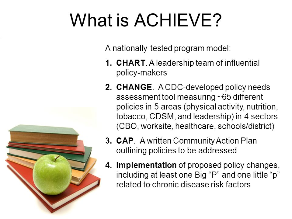 What is ACHIEVE. A nationally-tested program model: 1.CHART.