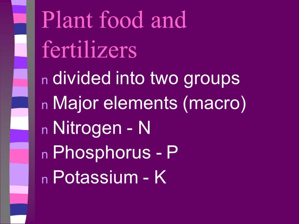 Plant food and fertilizers n divided into two groups n Major elements (macro) n Nitrogen - N n Phosphorus - P n Potassium - K