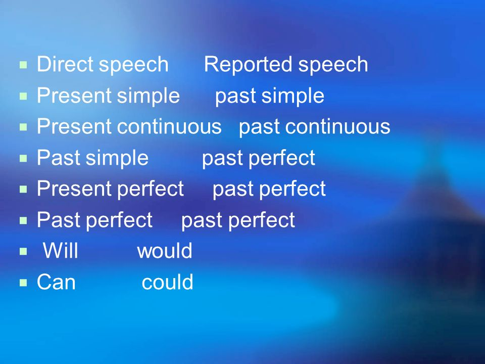 Direct speech Reported speech Present simple past simple Present continuous past continuous Past simple past perfect Present perfect past perfect Past