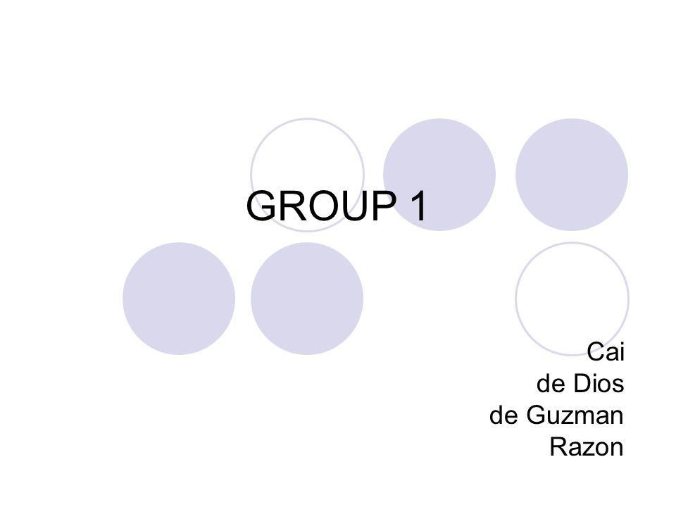 GROUP 1 Cai de Dios de Guzman Razon