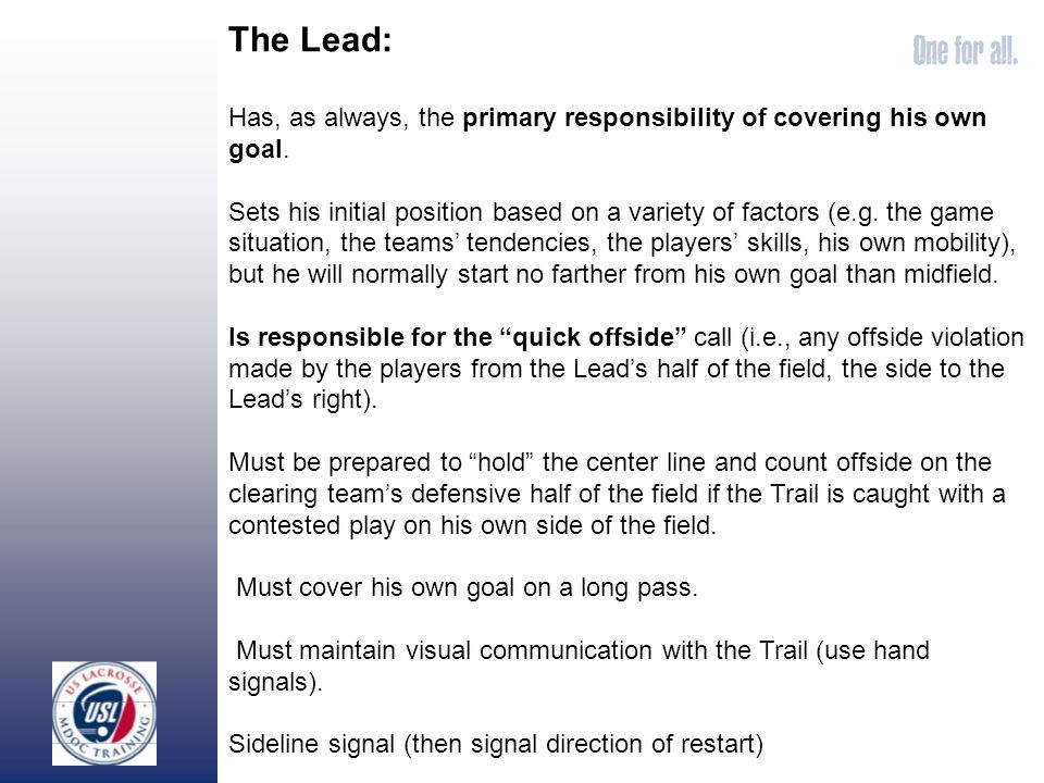 The Lead: Has, as always, the primary responsibility of covering his own goal.