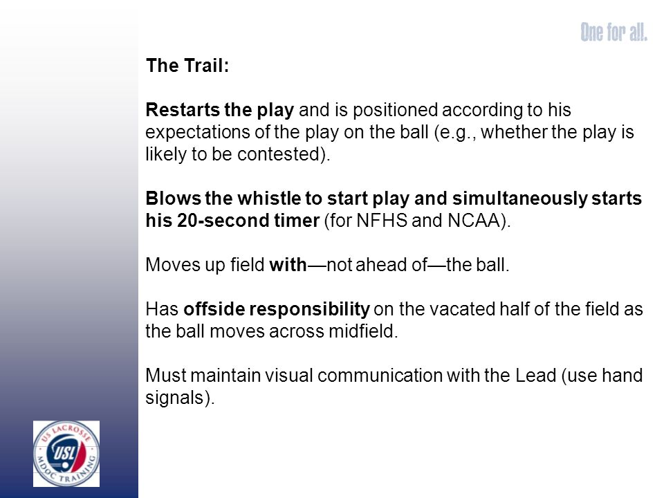 The Trail: Restarts the play and is positioned according to his expectations of the play on the ball (e.g., whether the play is likely to be contested).