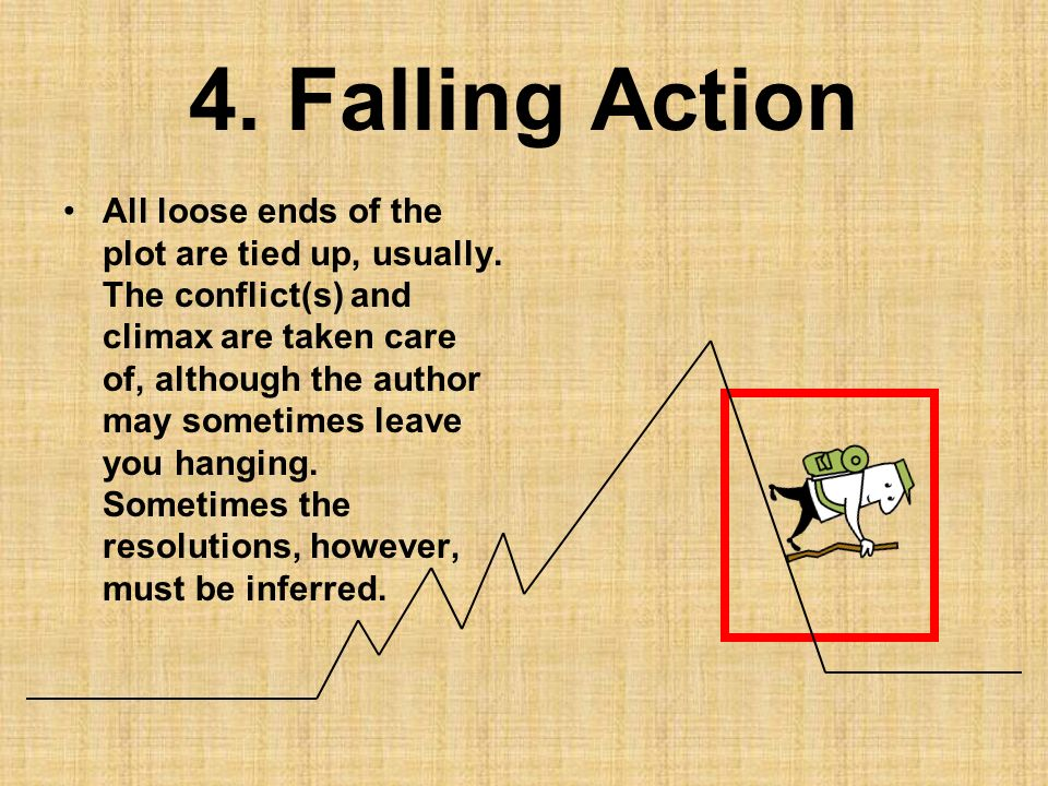 4. Falling Action All loose ends of the plot are tied up, usually. The conflict(s) and climax are taken care of, although the author may sometimes lea
