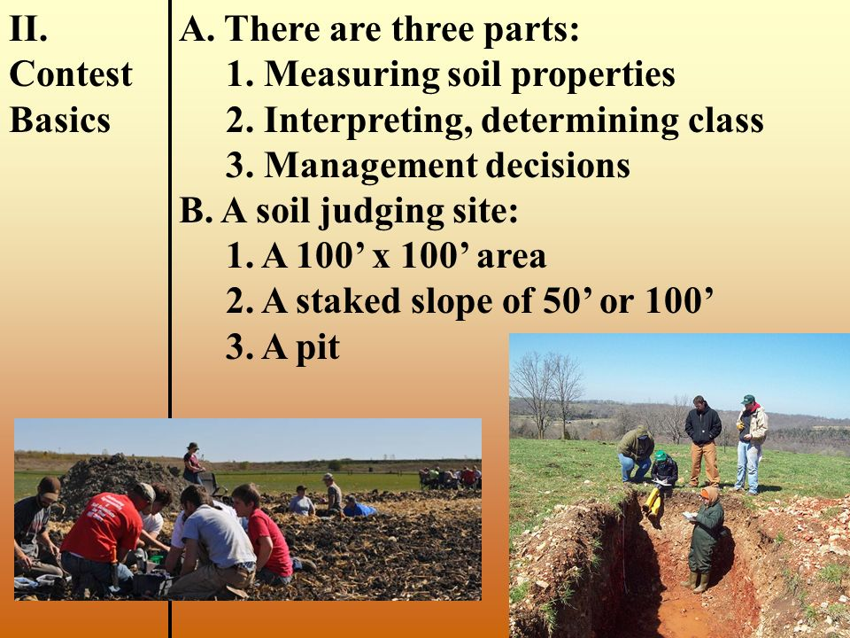 FactorInformation Needed Enterprise: Natural Resources Unit: Soil Judging I. Intro- duction A. Protecting resources, like soil, is an important career