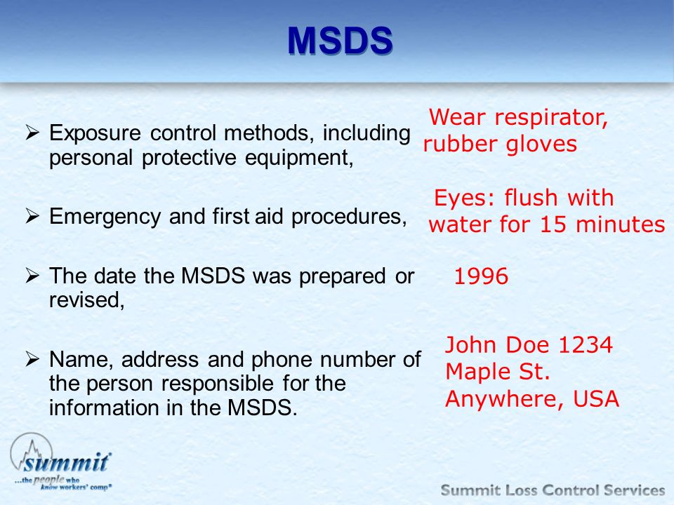 MSDS Exposure control methods, including personal protective equipment, Emergency and first aid procedures, The date the MSDS was prepared or revised,