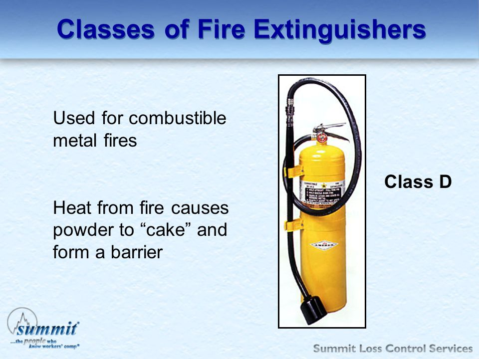 Classes of Fire Extinguishers Used for combustible metal fires Heat from fire causes powder to cake and form a barrier Class D