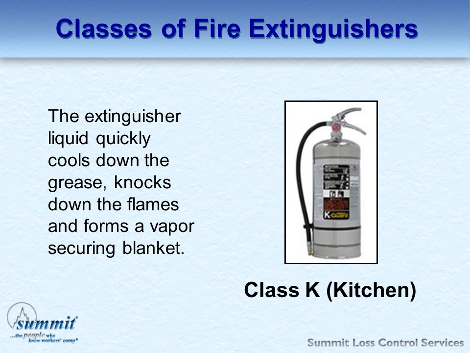 Classes of Fire Extinguishers Class K (Kitchen) The extinguisher liquid quickly cools down the grease, knocks down the flames and forms a vapor securi