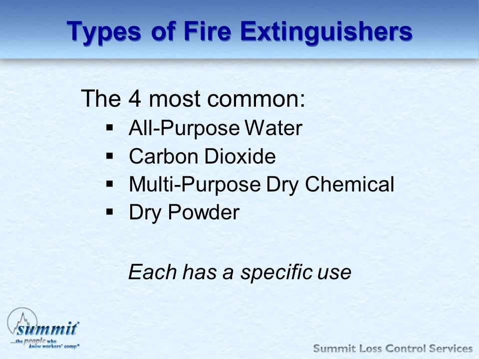 Types of Fire Extinguishers The 4 most common: All-Purpose Water Carbon Dioxide Multi-Purpose Dry Chemical Dry Powder Each has a specific use