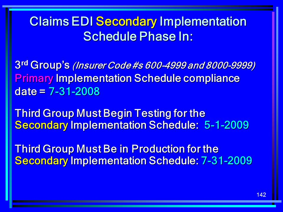 142 Claims EDI Secondary Implementation Schedule Phase In: 3 rd Groups (Insurer Code #s 600-4999 and 8000-9999) Primary Implementation Schedule compli