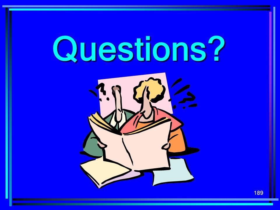 189 Questions?