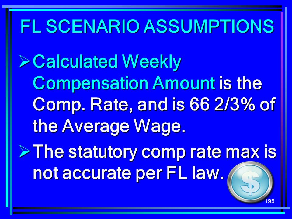 195 Calculated Weekly Compensation Amount is the Comp. Rate, and is 66 2/3% of the Average Wage. Calculated Weekly Compensation Amount is the Comp. Ra
