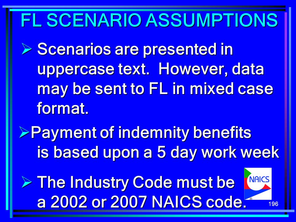 196 Scenarios are presented in uppercase text. However, data may be sent to FL in mixed case format. Scenarios are presented in uppercase text. Howeve