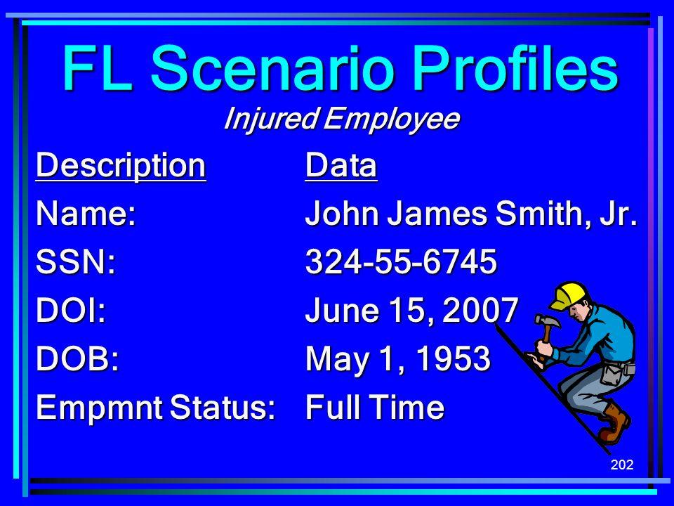 202 Injured Employee DescriptionData Name:John James Smith, Jr. SSN:324-55-6745 DOI:June 15, 2007 DOB:May 1, 1953 Empmnt Status: Full Time FL Scenario
