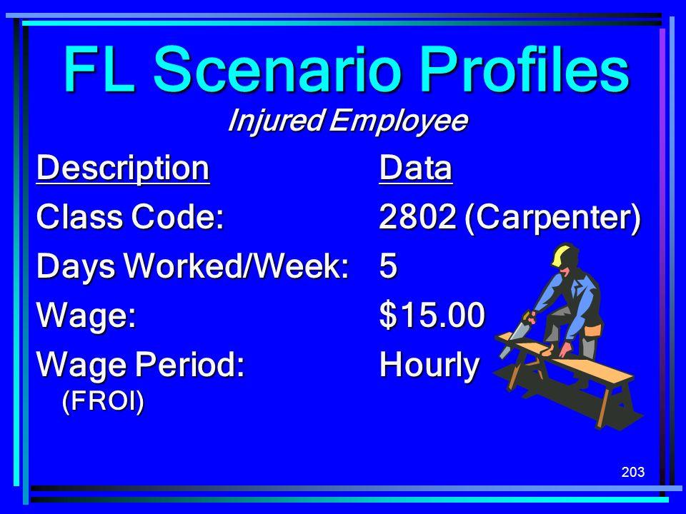203 Injured Employee DescriptionData Class Code:2802 (Carpenter) Days Worked/Week:5 Wage:$15.00 Wage Period:Hourly (FROI) FL Scenario Profiles