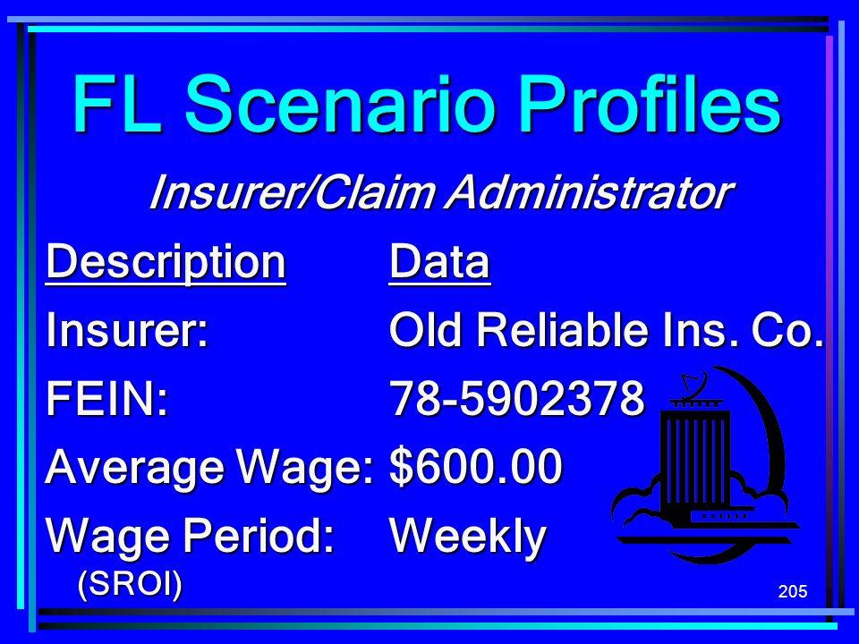 205 FL Scenario Profiles Insurer/Claim Administrator DescriptionData Insurer:Old Reliable Ins. Co. FEIN:78-5902378 Average Wage:$600.00 Wage Period:We