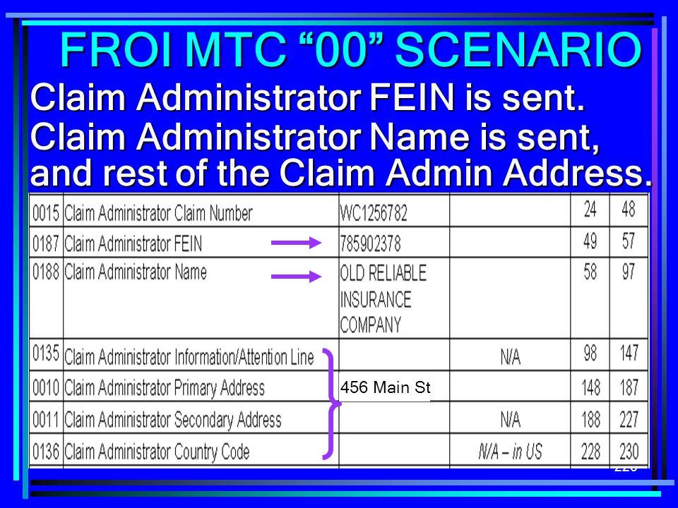 226 Claim Administrator FEIN is sent. Claim Administrator Name is sent, and rest of the Claim Admin Address. FROI MTC 00 SCENARIO 456 Main St